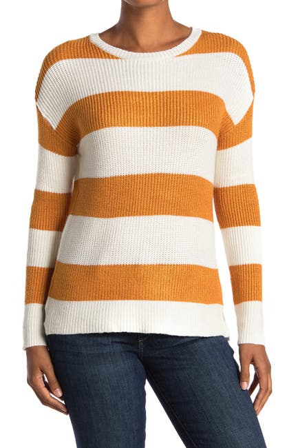 Image of FOR THE REPUBLIC Long Sleeve Crew Neck Striped Sweater