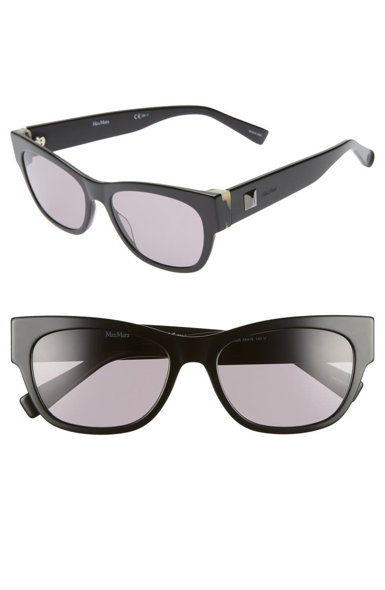 MAX MARA Flat II 54mm Cat Eye Sunglasses, Main, color, BLACK GREY HAVANA