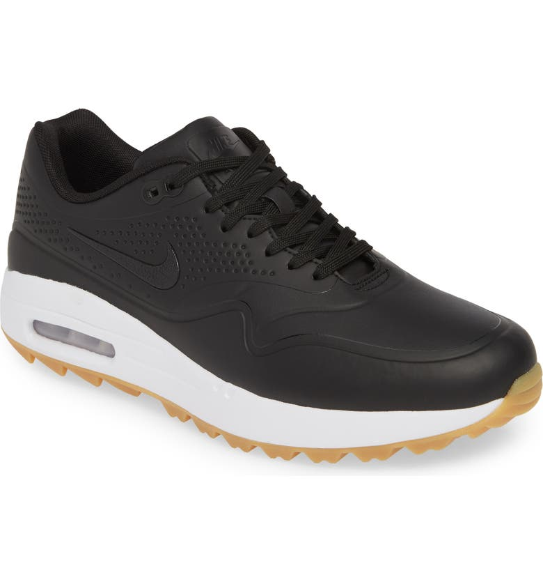NIKE Air Max 1 Golf Sneaker, Main, color, BLACK/ GUM LIGHT BROWN