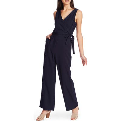 1.state Wrap Front Sleeveless Soft Twill Jumpsuit, Blue