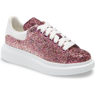 Alexander Mcqueen Glitter Platform Sneaker, Pink