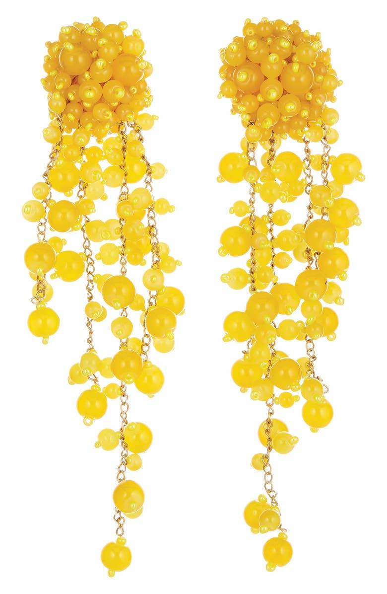 OSCAR DE LA RENTA Beaded Clip-On Drop Earrings, Main, color, 800