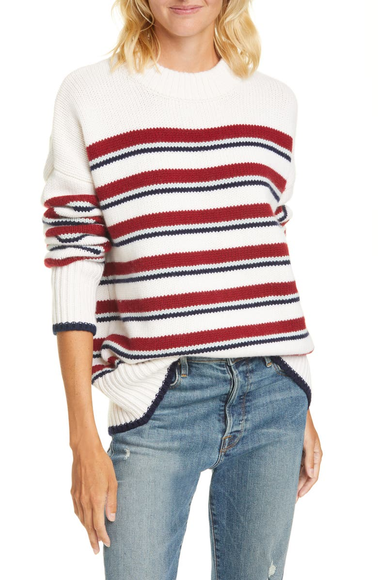 LA LIGNE New Stripe Marin Wool & Cashmere Sweater, Main, color, CREAM / BURGUNDY / MINT / NAVY