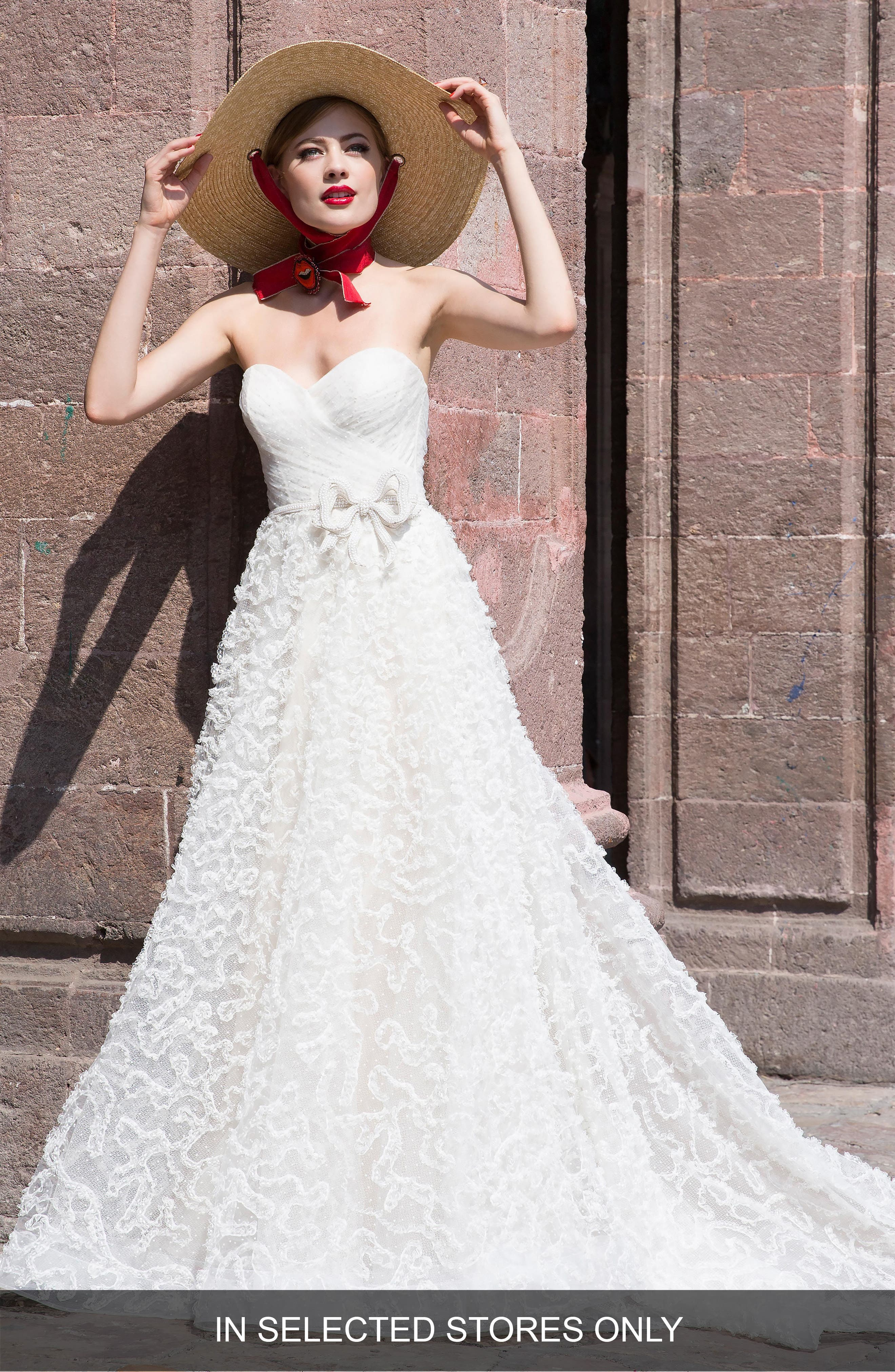 Watters Caerwyn Silk Lace & Dotted Tulle Strapless Ballgown, Size - Ivory