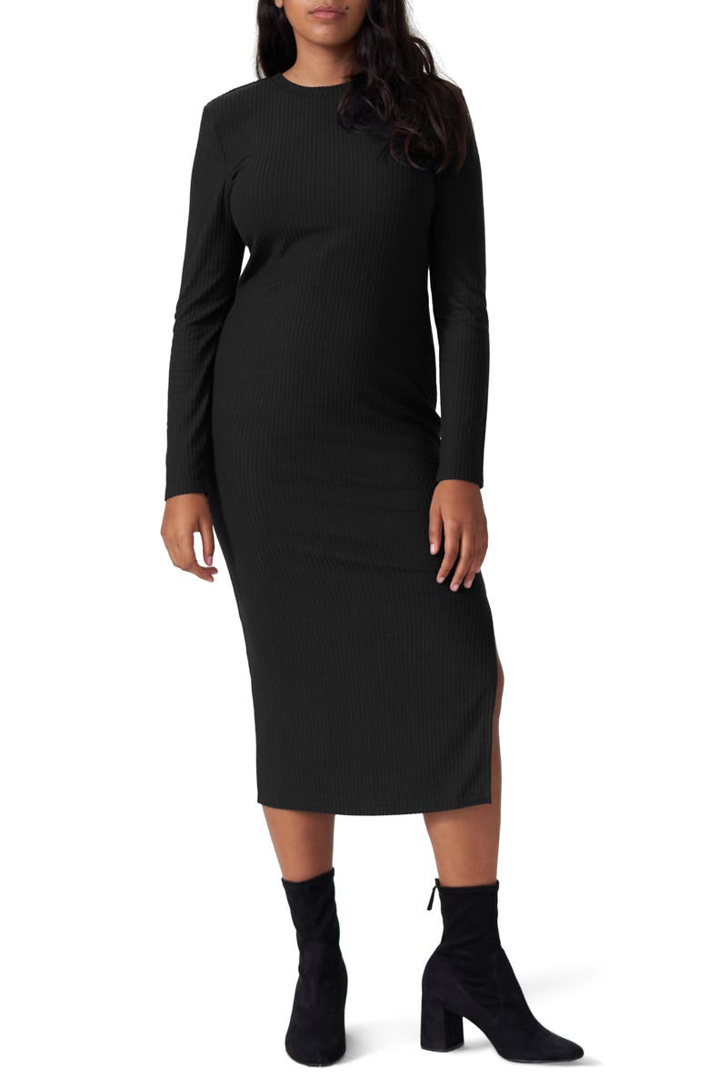 UNIVERSAL STANDARD Lexi Long Sleeve Ribbed Midi Dress, Main, color, BLACK