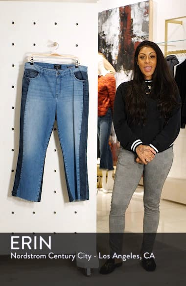 Modern Standard Two Tone Raw Hem Crop Jeans, sales video thumbnail