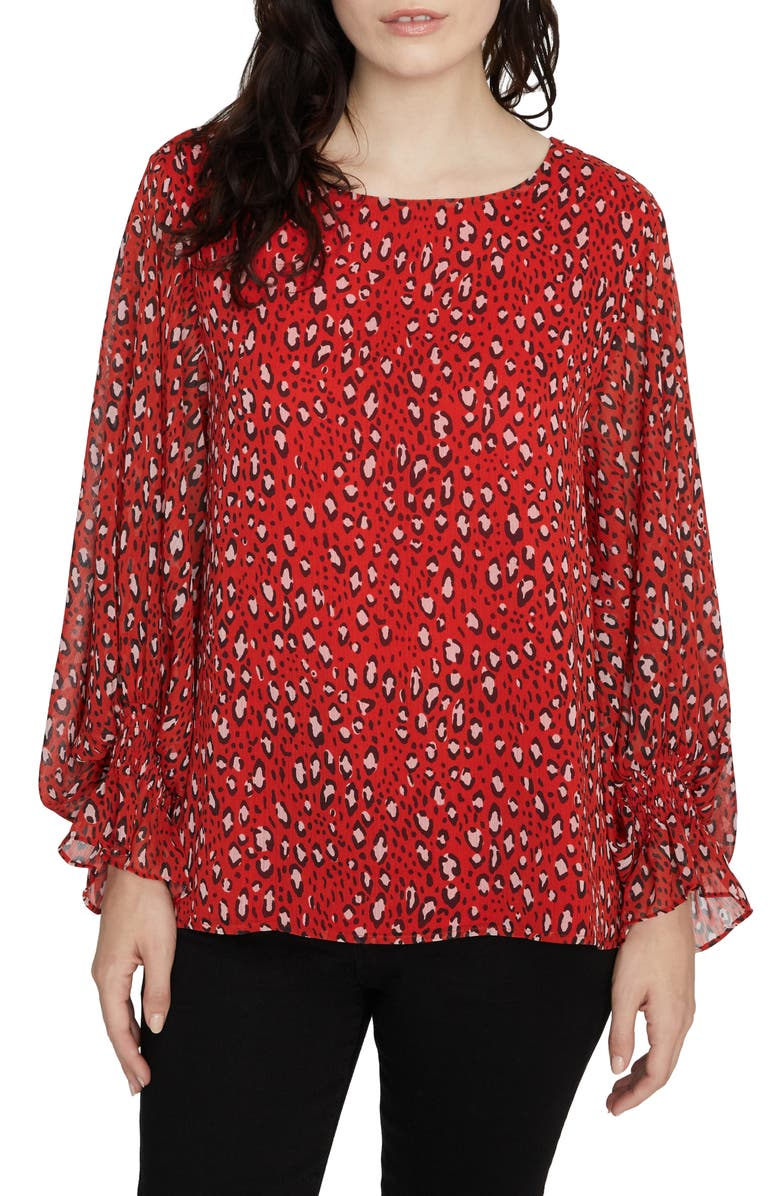 SANCTUARY Rylee Print Smocked Cuff Blouse, Main, color, RED HOT LEOPARD
