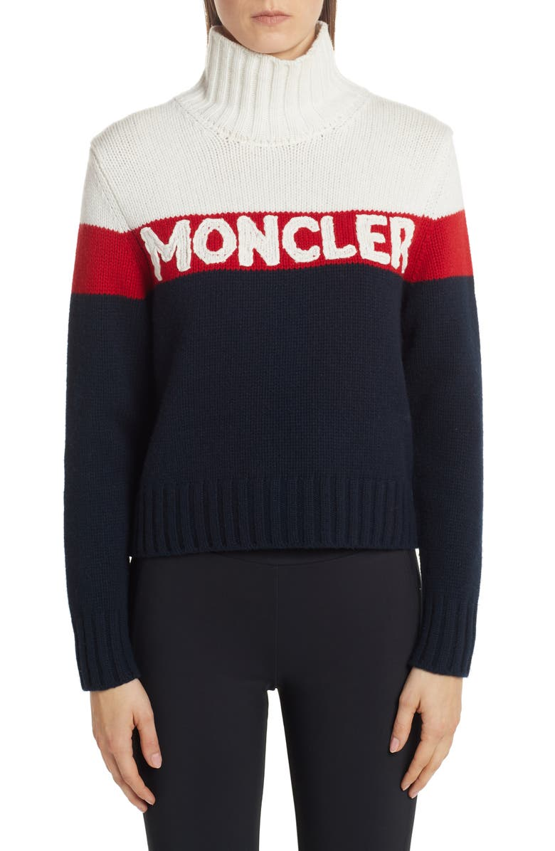 MONCLER Stripe Logo Turtleneck Sweater, Main, color, NAVY
