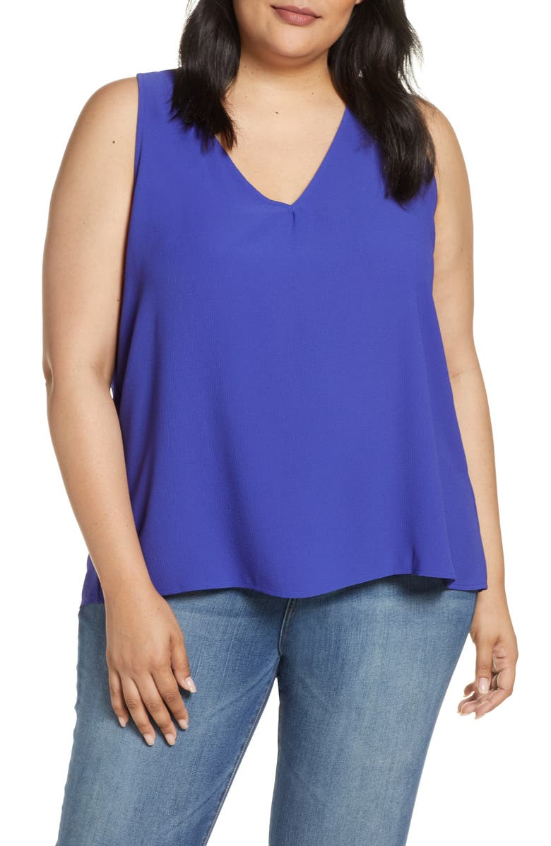 GIBSON Carmel High/Low V-Neck Top, Main, color, 430