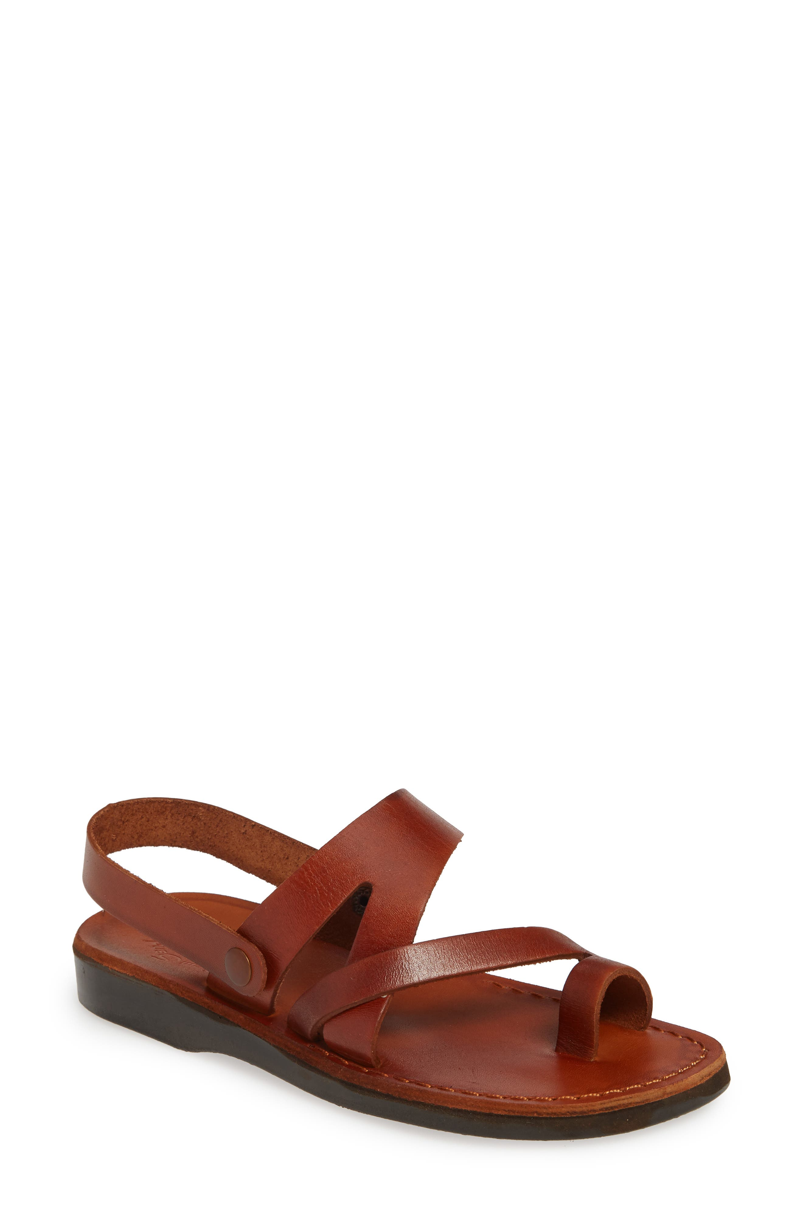 Designed as a tribute to 2,000-year-old shoes found at archaeological digs in the Middle East, these vegetable-tanned leather sandals are handmade in Israel by skilled craftsman. The style includes a decorative slingback strap that\\\'s just for looks-it\\\'s meant to be worn low-slung against the base of your heel Style Name: Jerusalem Sandals Benjamin Sandal (Women). Style Number: 5790593. Available in stores.