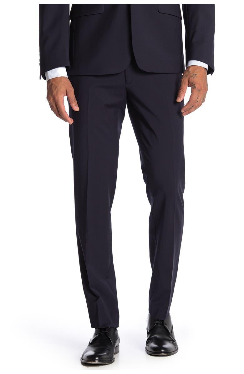 CALVIN KLEIN Plain Navy Skinny Fit Suit Separate Pants, Main, color, NAVY
