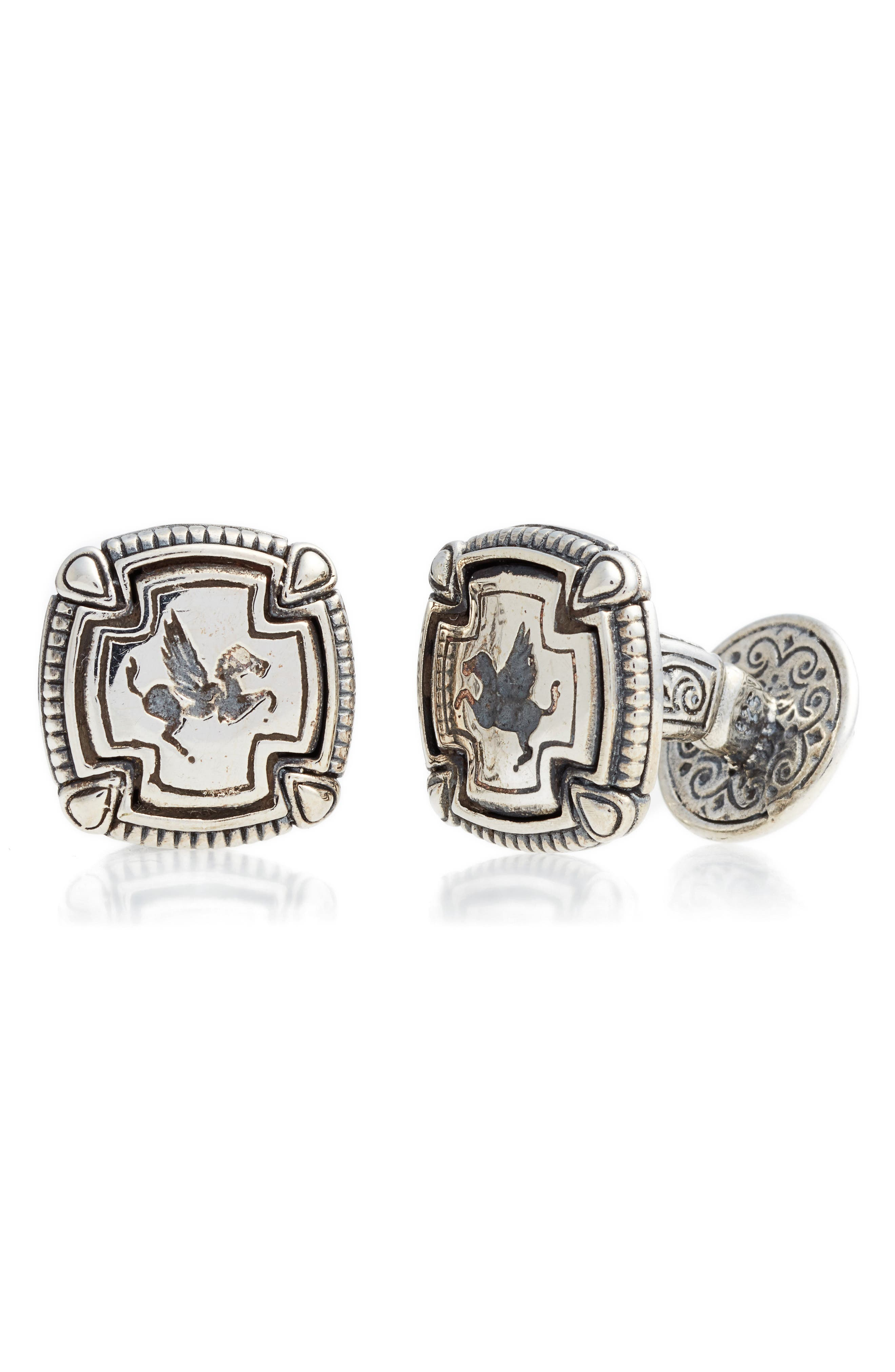 Pegasus-engraved Maltese crosses boost the antiquated charm of these sterling-silver cuff links meticulously handcrafted in Athens. Style Name: Konstantino Classics Cuff Links. Style Number: 5400498. Available in stores.