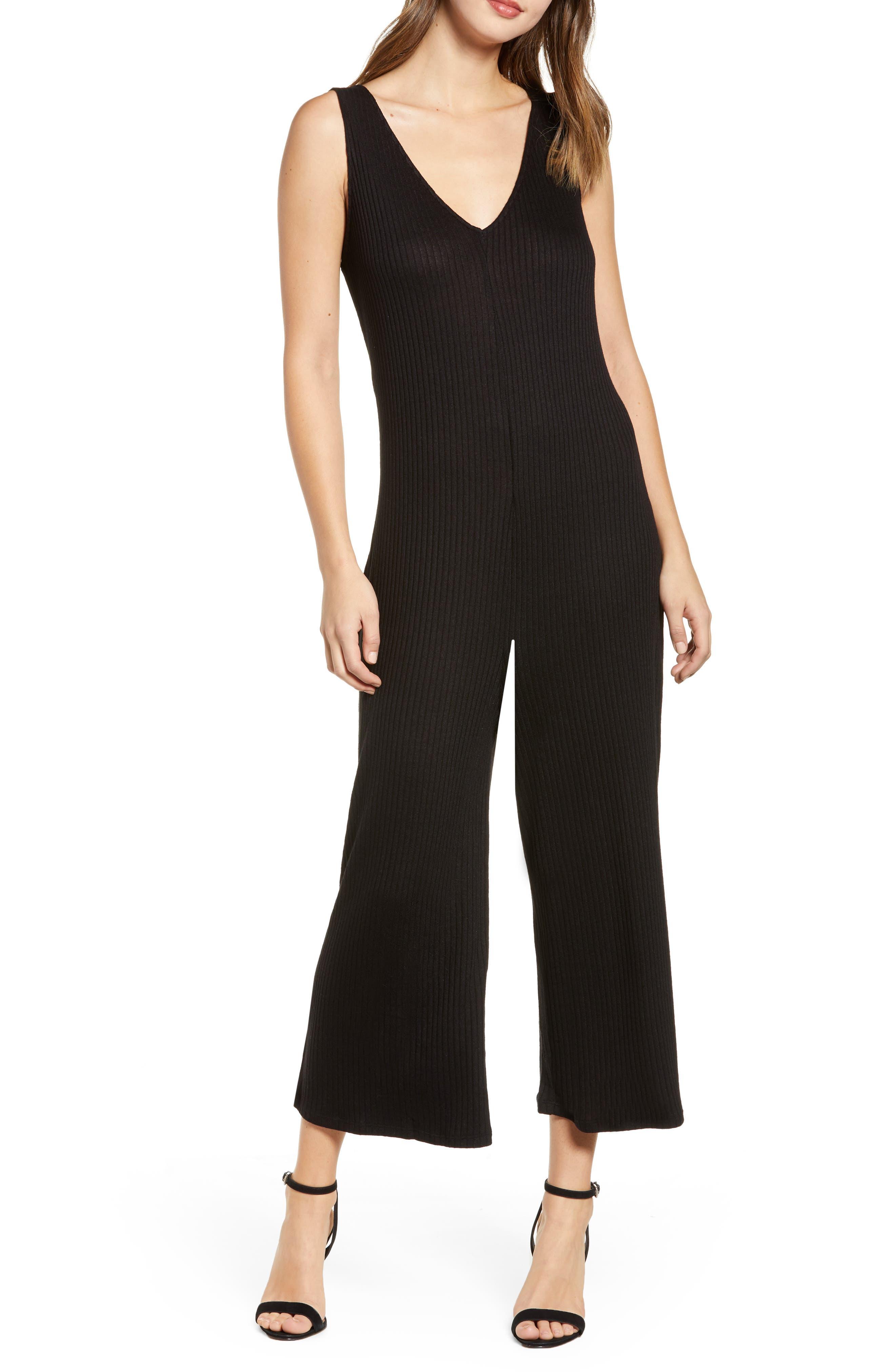 Ribbed Wide Leg Crop Jumpsuit, Main, color, BLACK