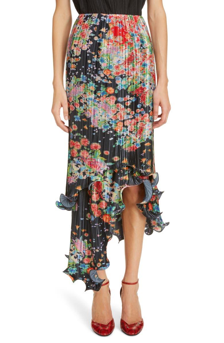 GIVENCHY Bloom Asymmetrical Plissé Midi Skirt, Main, color, RED/ BLACK