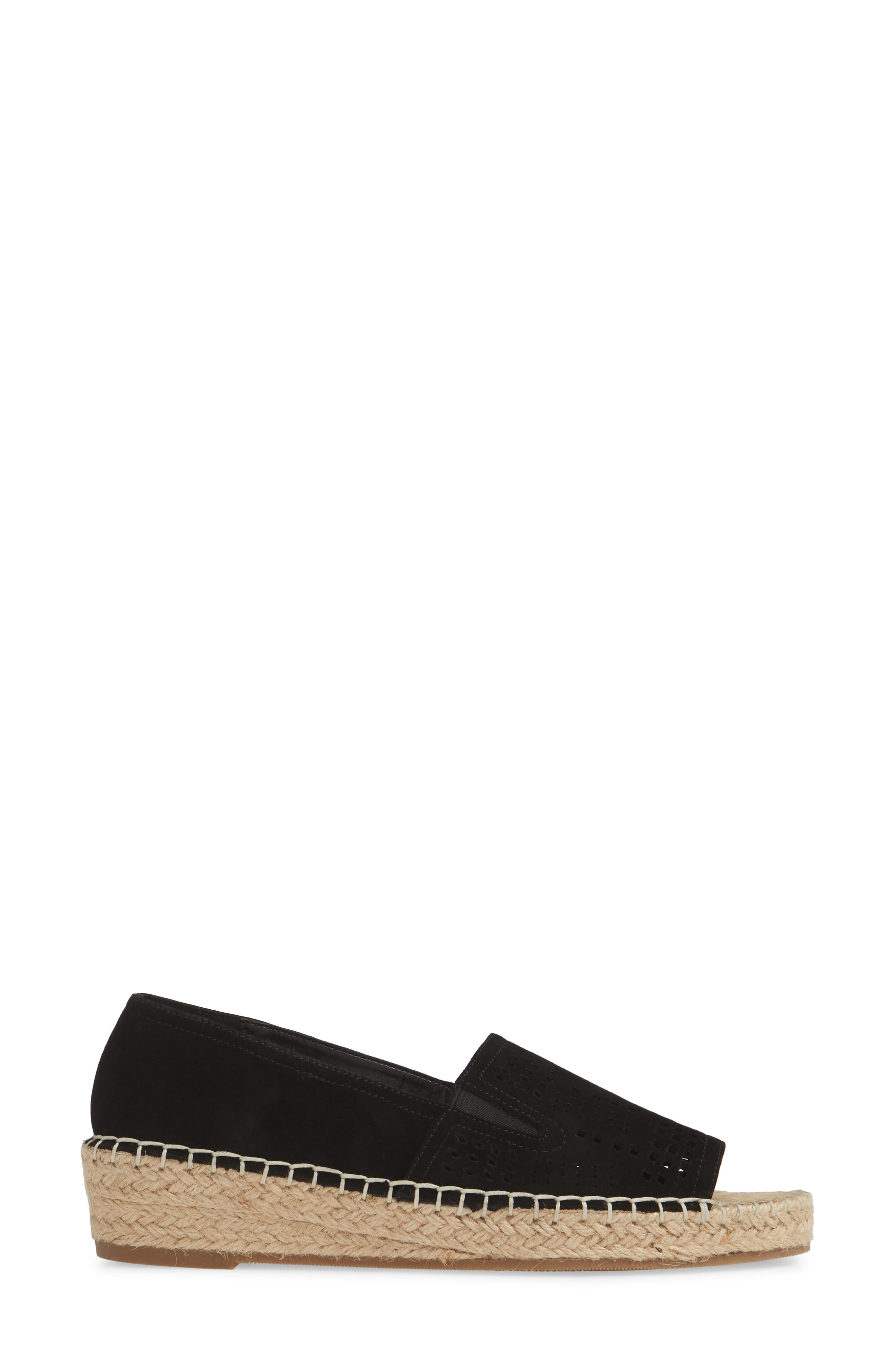 ,                             Cora Open Toe Slip-On,                             Alternate thumbnail 3, color,                             BLACK SUEDE
