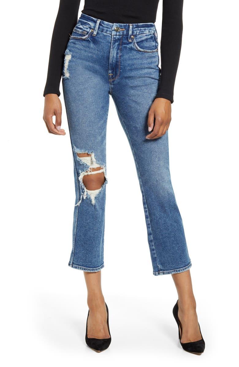 GOOD AMERICAN Good Curve High Waist Ankle Straight Leg Jeans, Main, color, BLUE312