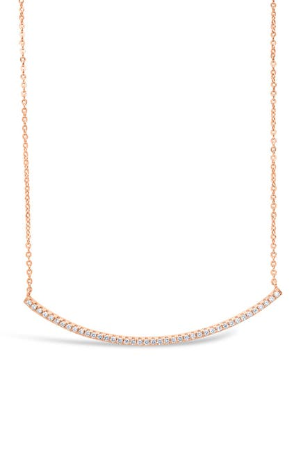 Image of Sterling Forever 14K Rose Gold Plated Brass CZ Curved Bar Necklace