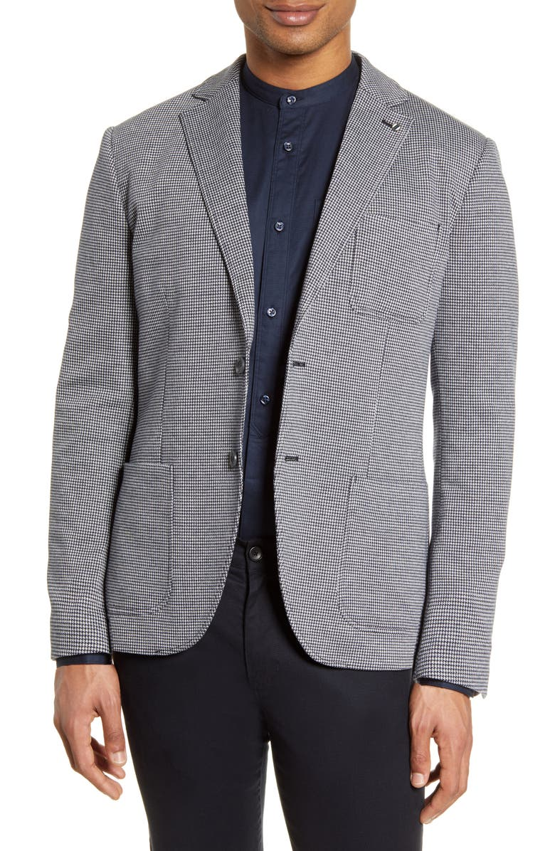 SELECTED HOMME Hank Slim Fit Mini Houndstooth Sport Coat, Main, color, WHITE PATTERN