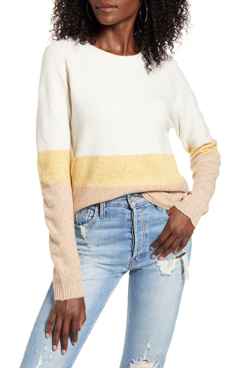 VERO MODA Doffy Colorblock Oversize Crewneck Sweater, Main, color, 900