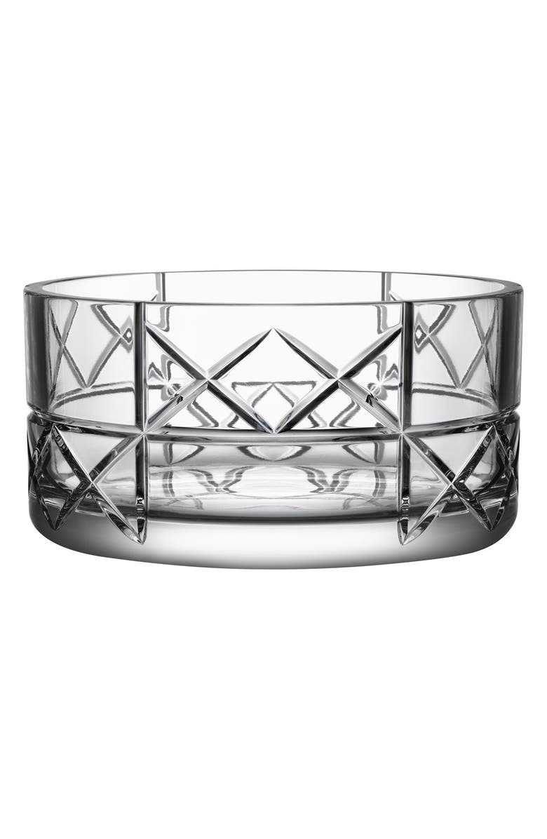 ORREFORS 'Explicit Checks' Lead Crystal Bowl, Main, color, CLEAR
