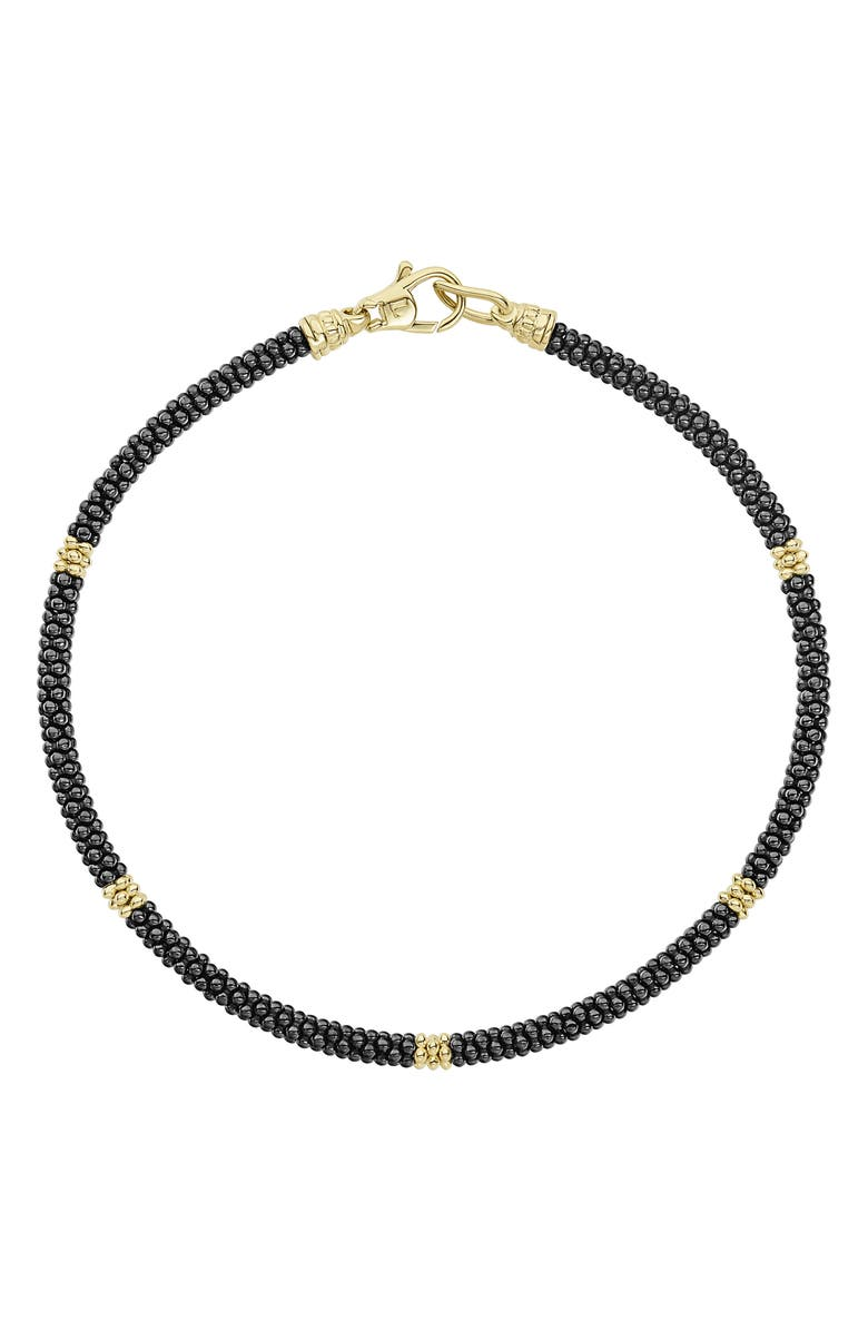 LAGOS Gold & Black Caviar Rope Bracelet, Main, color, GOLD
