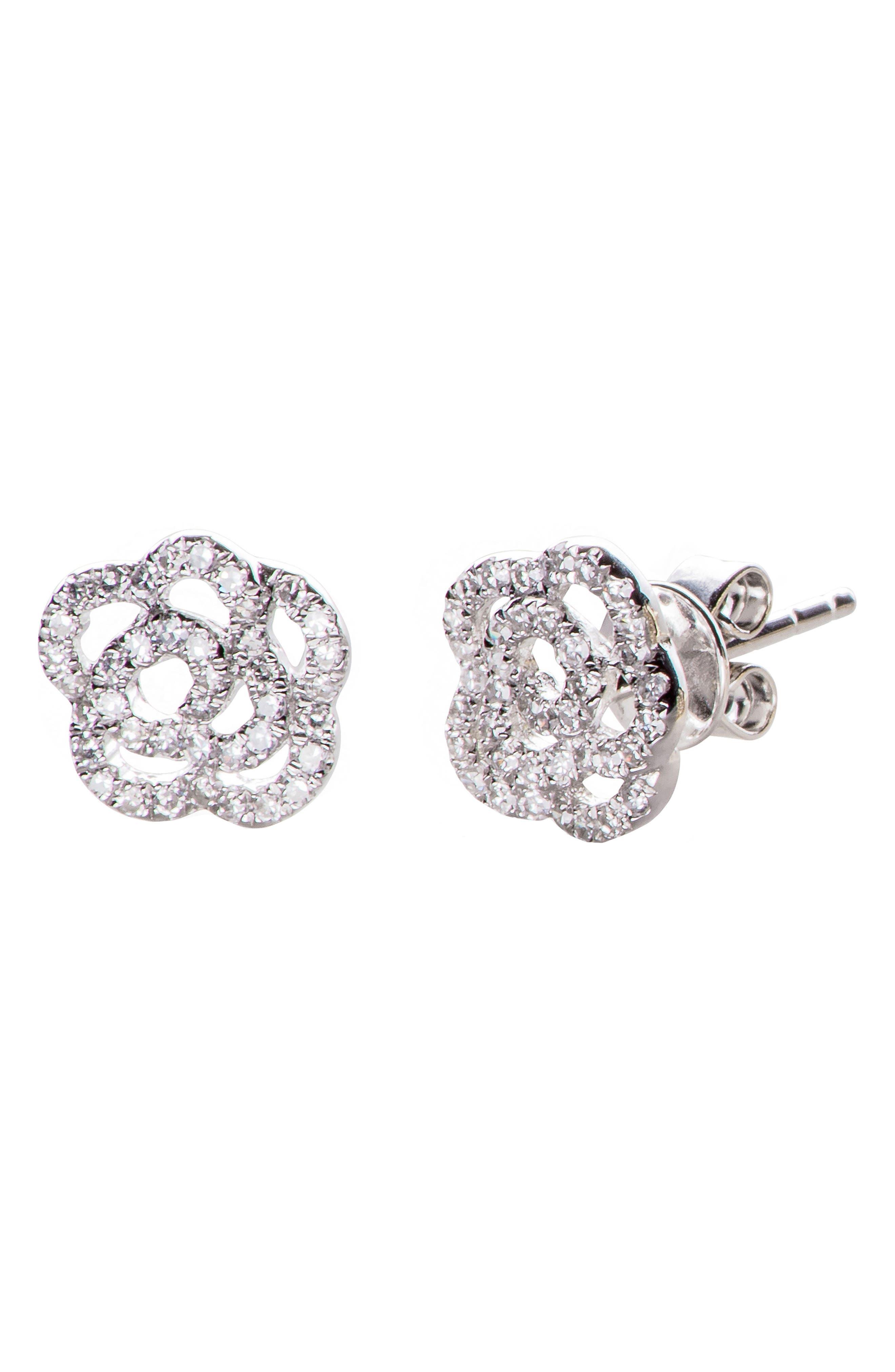 Diamond Rose Stud Earrings