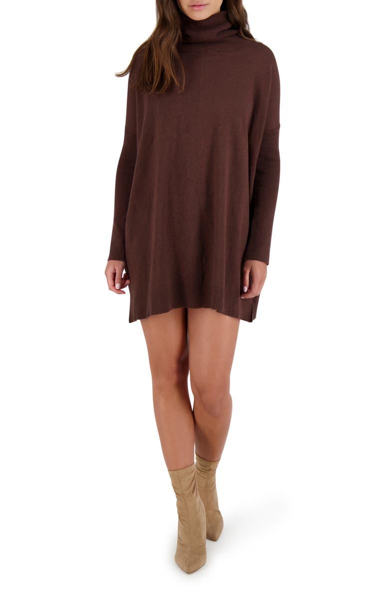 BB DAKOTA Hug Me Tight Turtleneck Long Sleeve Sweater Dress, Main, color, WALNUT