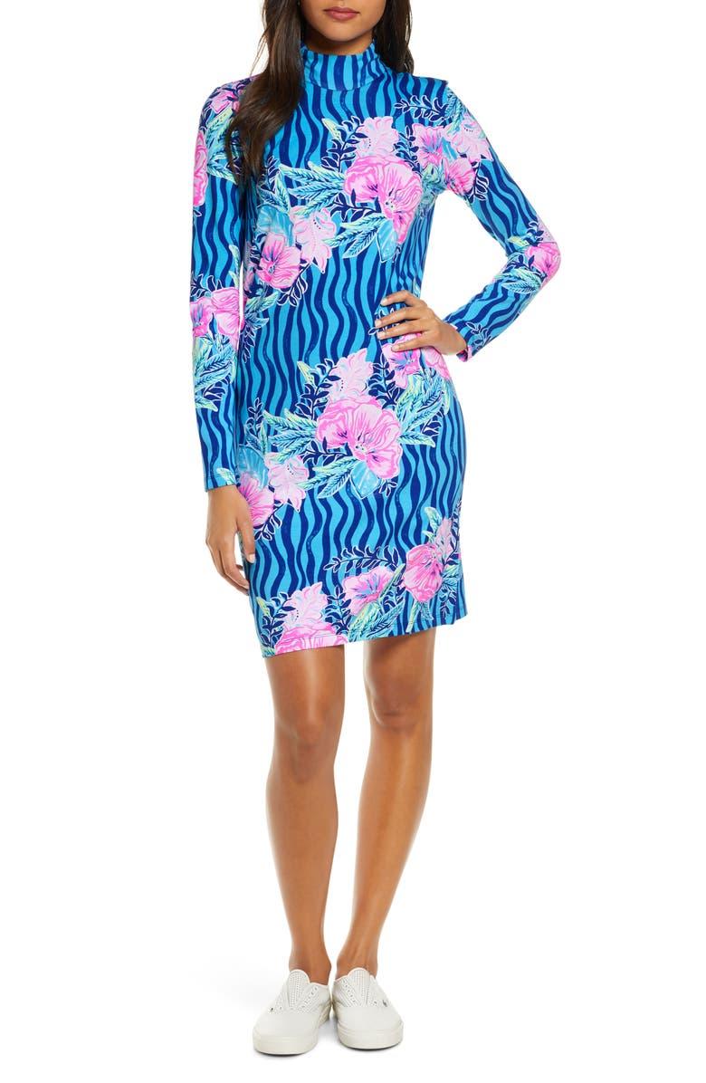 LILLY PULITZER<SUP>®</SUP> Nikia Mock Neck Long Sleeve Shift Dress, Main, color, LAPIS LAZULI BEACH CLUB BLOOMS