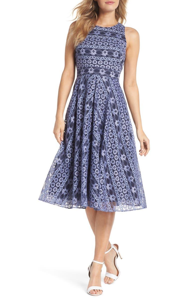 ELIZA J Stripe Lace A-Line Dress, Main, color, 410