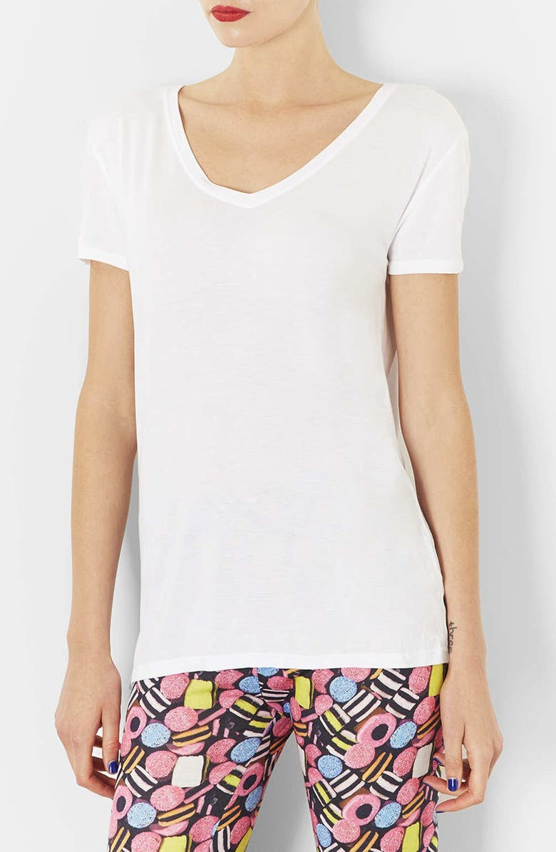 TOPSHOP V-Neck Tee, Main, color, 100