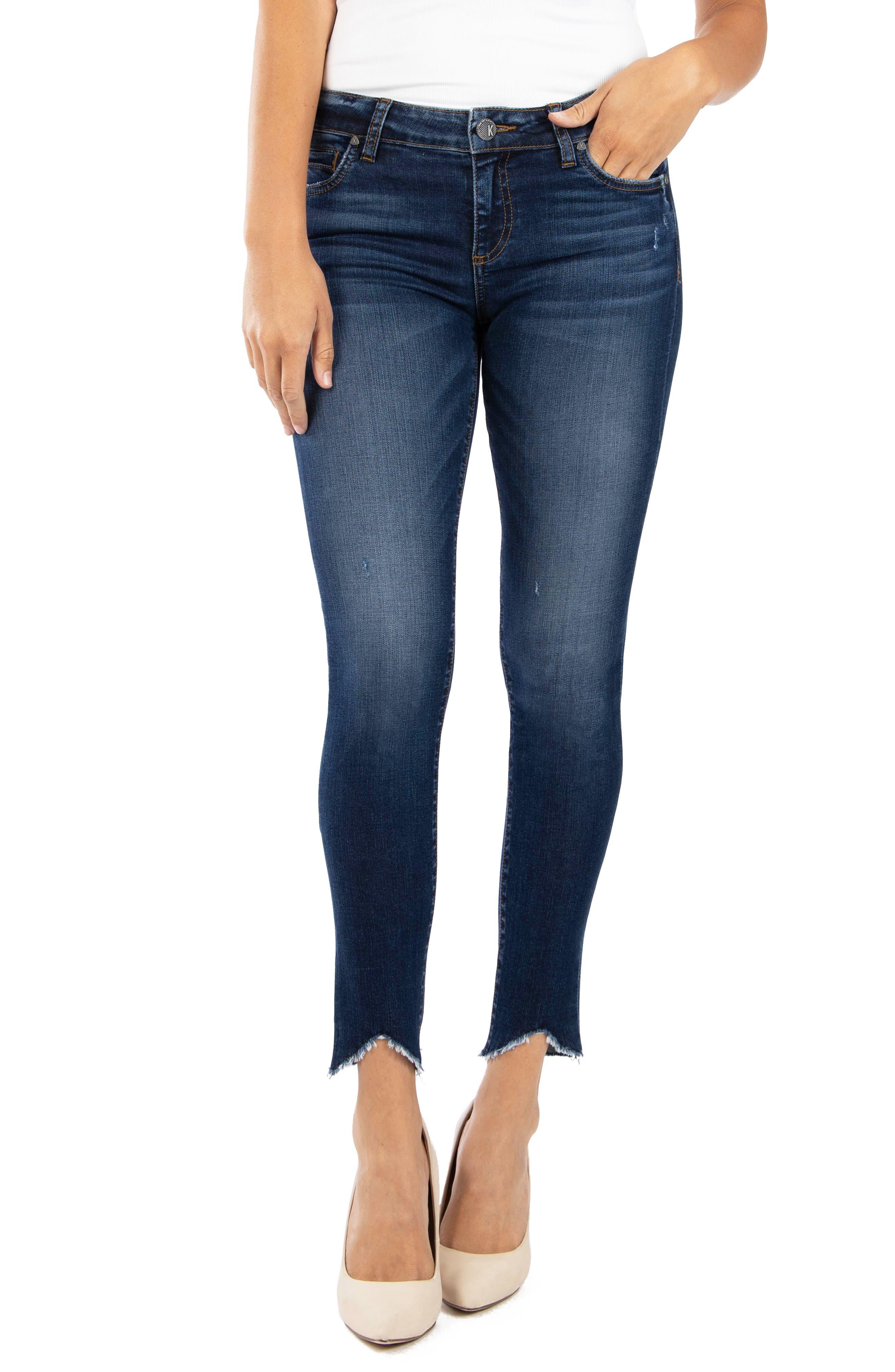 Connie Raw Angled Hem Ankle Skinny Jeans
