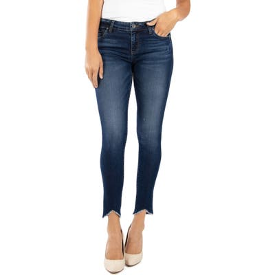 Kut From The Kloth Connie Raw Angled Hem Ankle Skinny Jeans, Blue