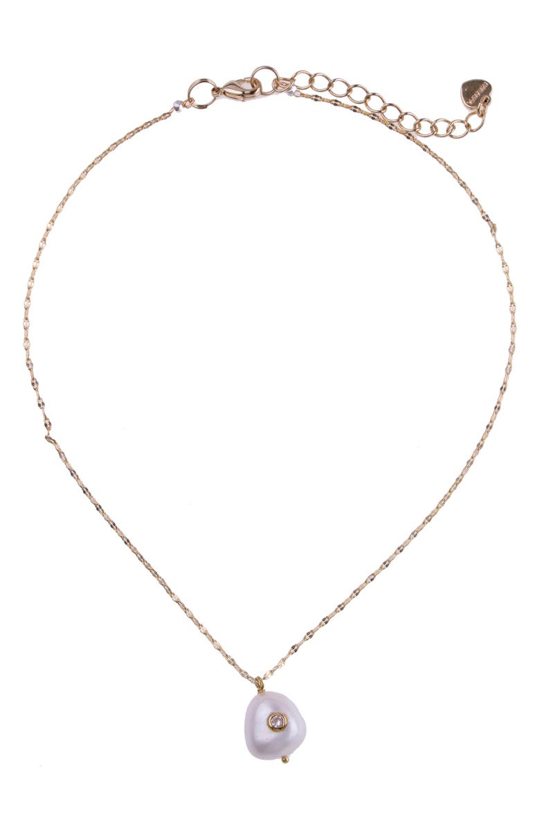 NAKAMOL CHICAGO Embellished Pearl Pendant Necklace, Main, color, WHITE PEARL/ GOLD