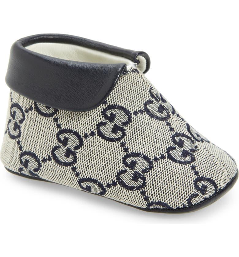GUCCI Amalia GG Supreme Crib Shoe, Main, color, GARDEN BLUE
