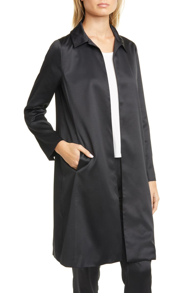 EILEEN FISHER Recycled Satin Coat, Main, color, BLACK
