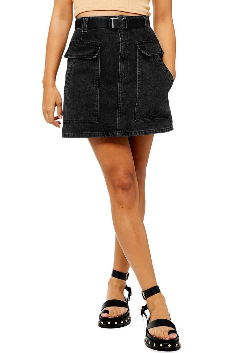 TOPSHOP Clip Buckle Denim Miniskirt, Main, color, 003