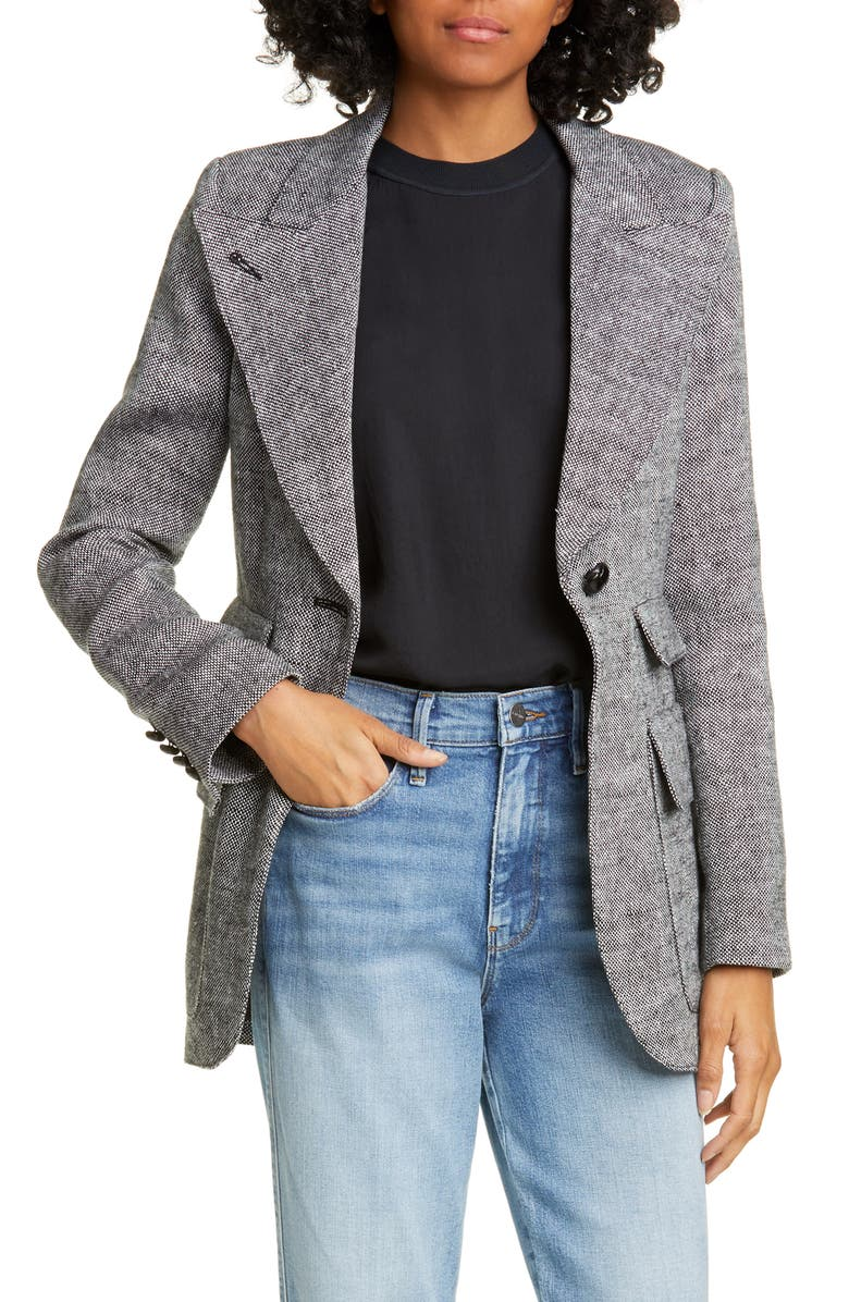 SMYTHE Birkin Tweed Blazer, Main, color, BLACK TWEED