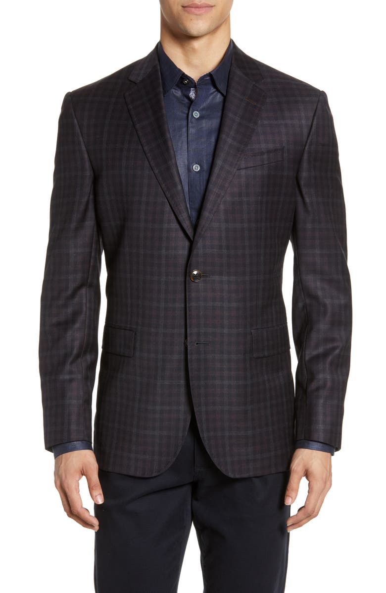 TED BAKER LONDON Jay Trim Fit Check Wool Sport Coat, Main, color, NAVY