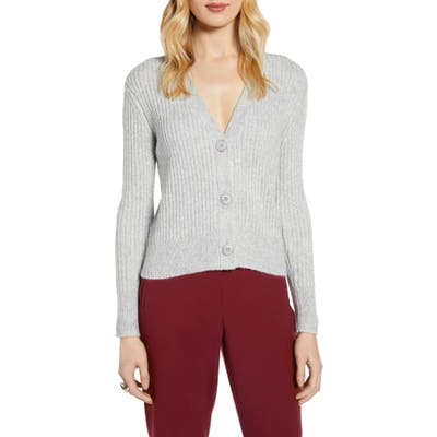Halogen Ribbed V-Neck Cardigan, Grey