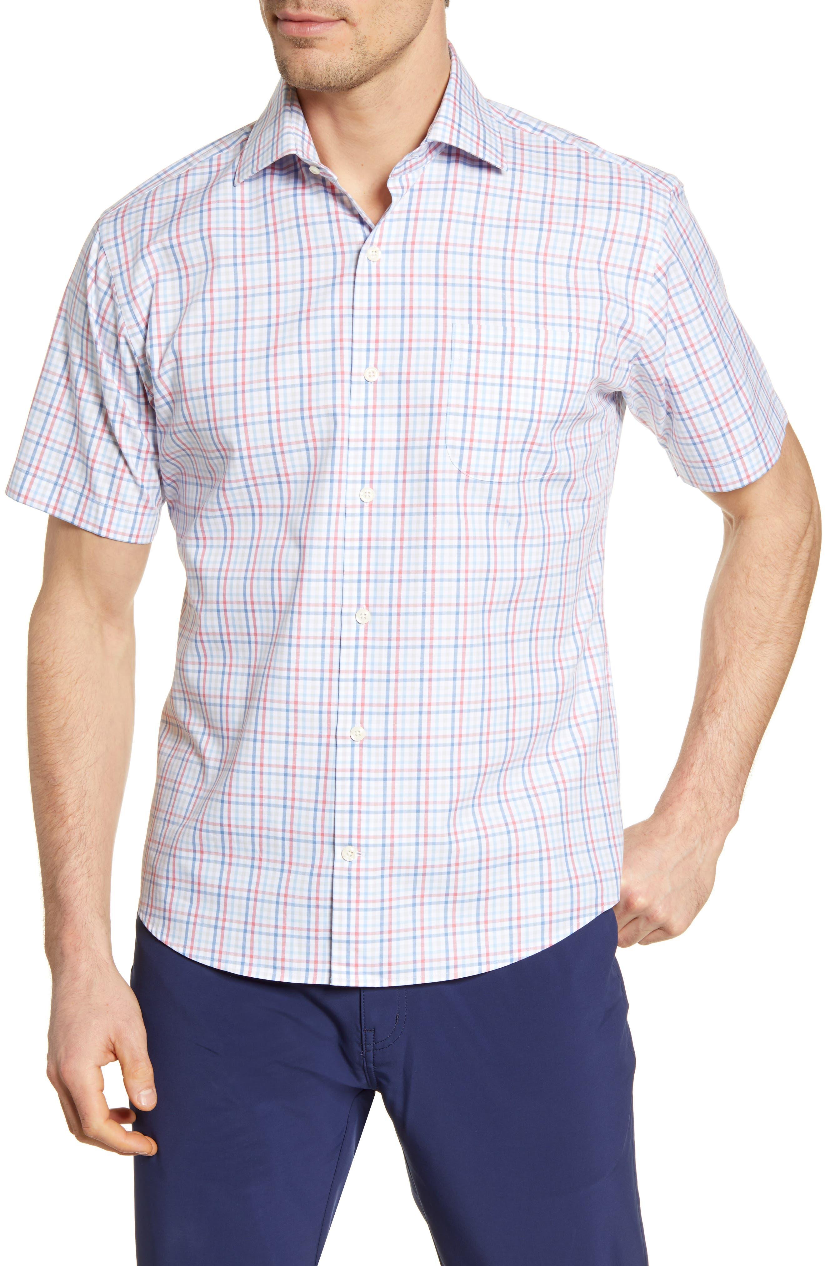 Image of Peter Millar Table Rock Regular Fit Check Short Sleeve Button-Up Shirt