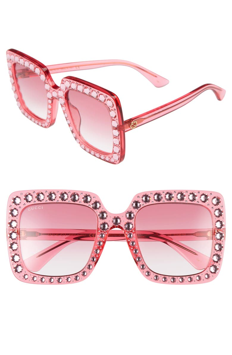 GUCCI 53mm Crystal Embellished Square Sunglasses, Main, color, 650