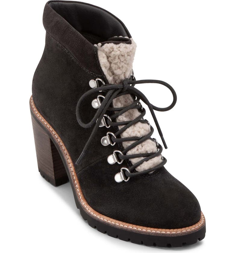 DOLCE VITA Post Faux Shearling Trimmed Hiking Boot, Main, color, ANTHRACITE SUEDE