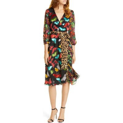 Alice + Olivia Jesse Pattern Mix Wrap Front Dress, Black