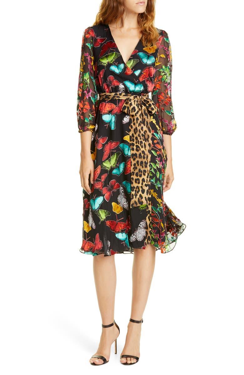 ALICE + OLIVIA Jesse Pattern Mix Wrap Front Dress, Main, color, BUTTERFLIES/ COMBO