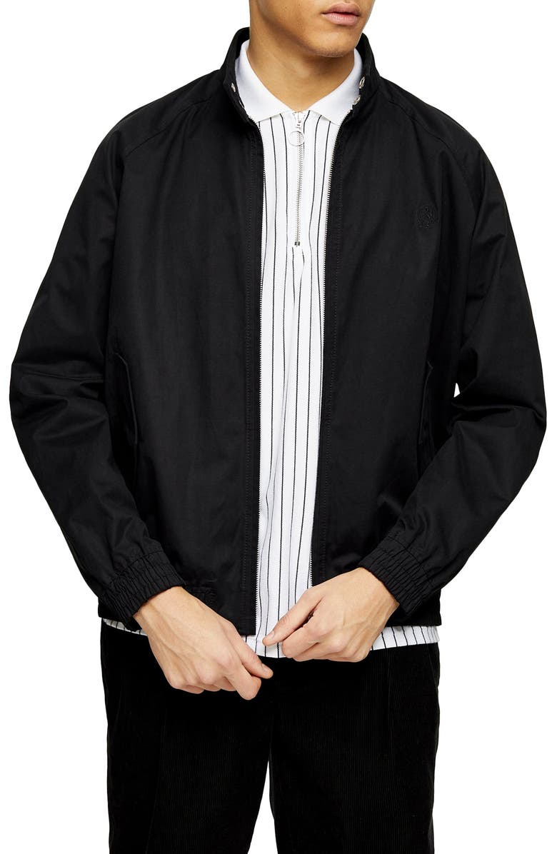 TOPMAN Harrington Stand Collar Jacket, Main, color, BLACK