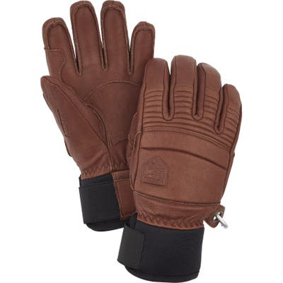 Hestra Fall Line Leather Ski Gloves, Brown