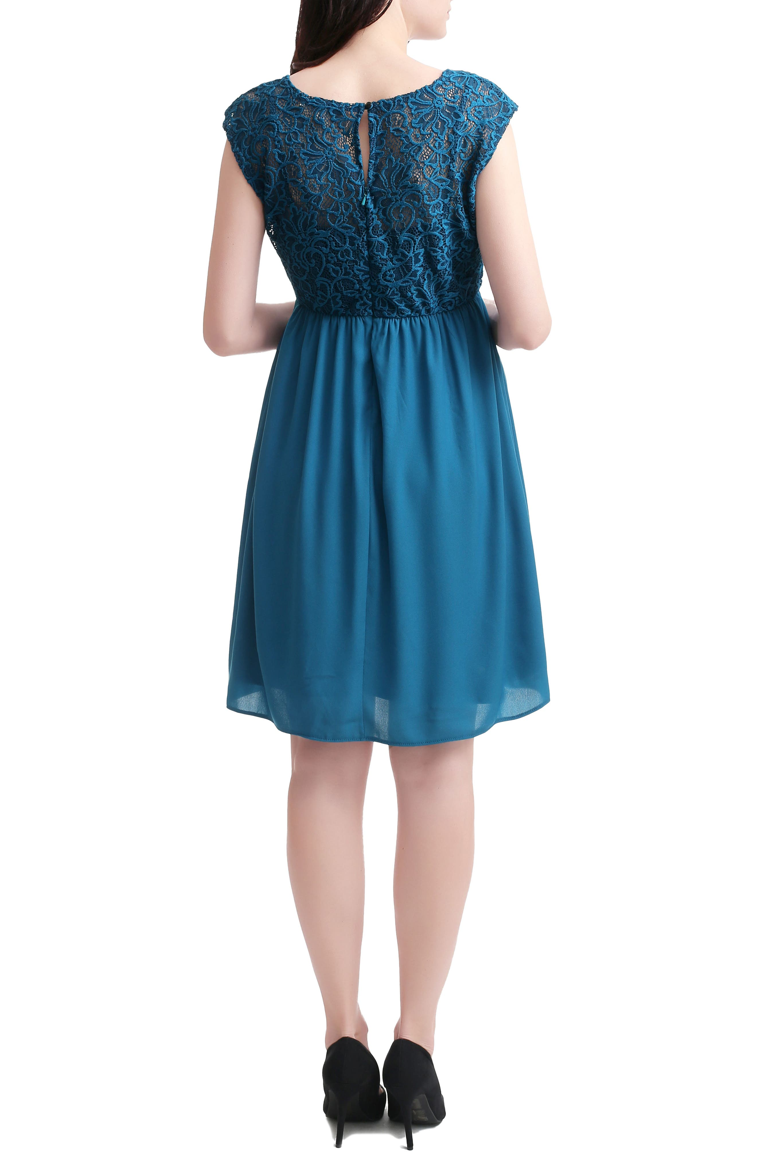 Kimi And Kai Genevieve Lace Maternity Dress, Blue/green