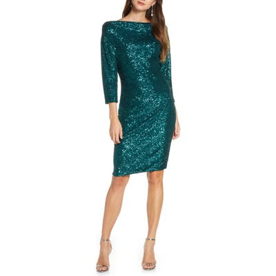 Badgley Mischka Sequin Drape Back Party Dress, Green