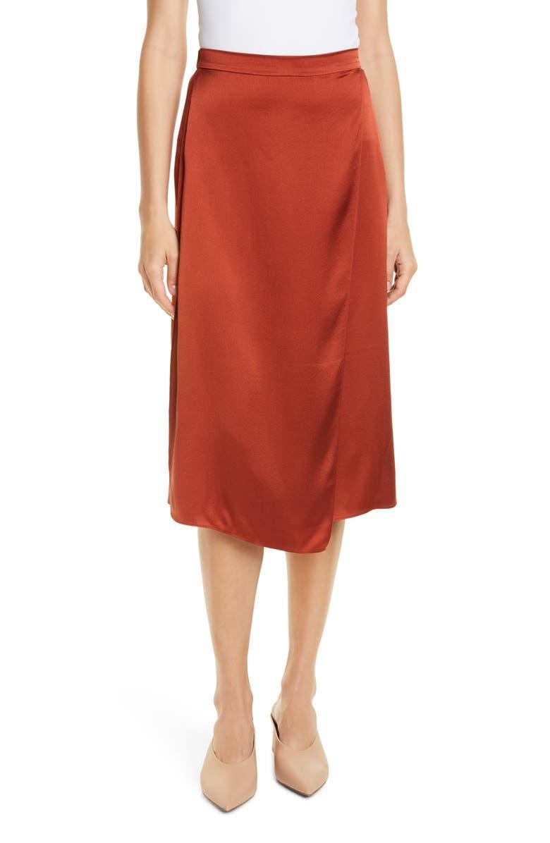 VINCE Drape Panel Silk Skirt, Main, color, BRICK