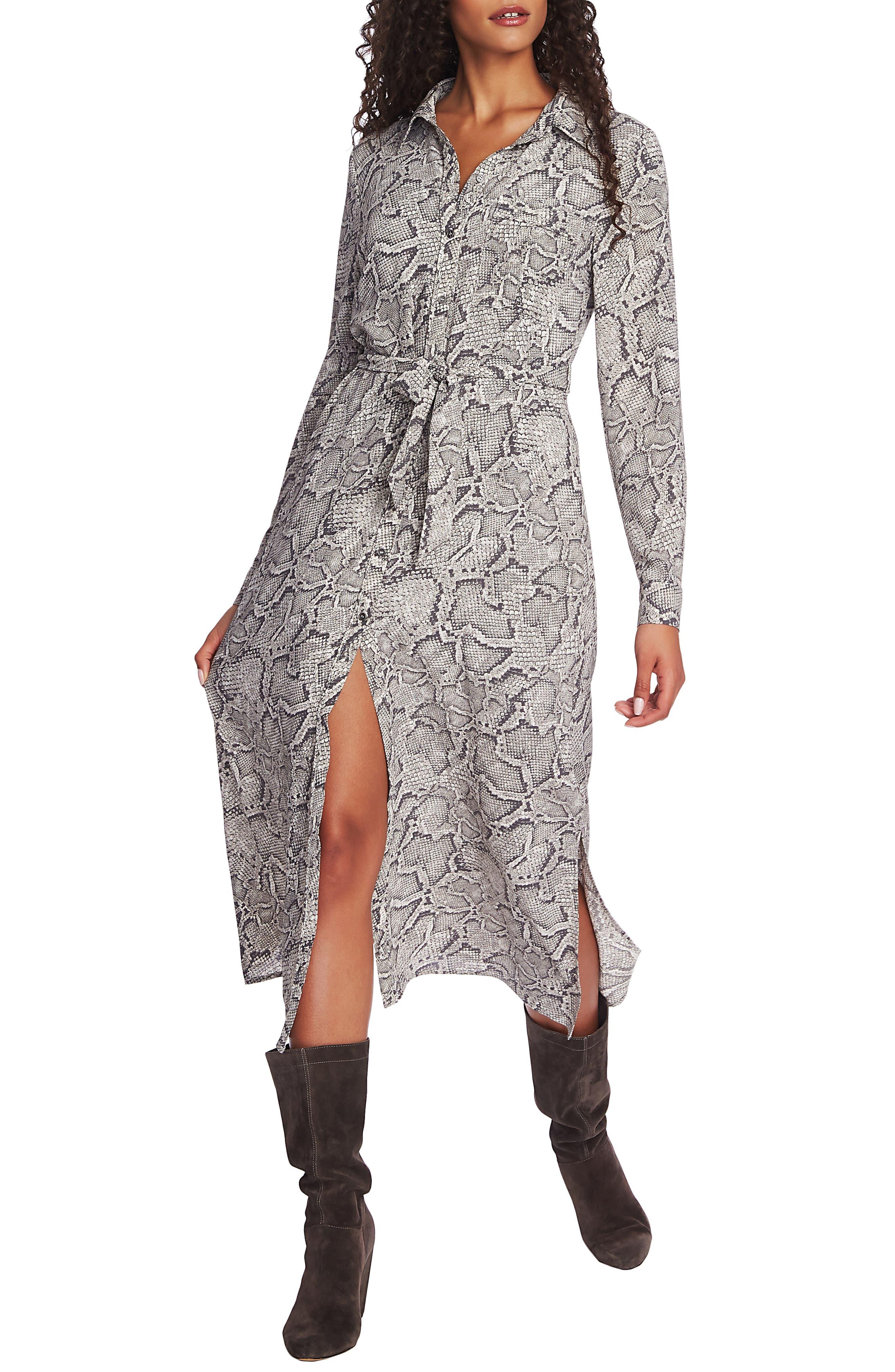 1.state Dresses Snake Print Long Sleeve Shirtdress